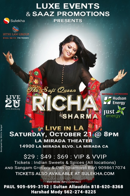 RICHA SHARMA - The Sufi Queen Live In Los Angeles