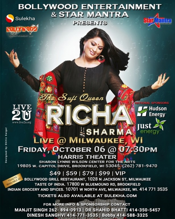 Richa Sharma Live Concert in Milwaukee