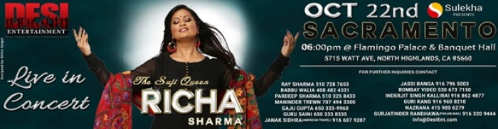 RICHA SHARMA - The Sufi Queen Live In Sacramento
